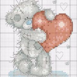 Схемы для вышивки крестиком «Мишка с сердечком» (Вышивка крестом)
