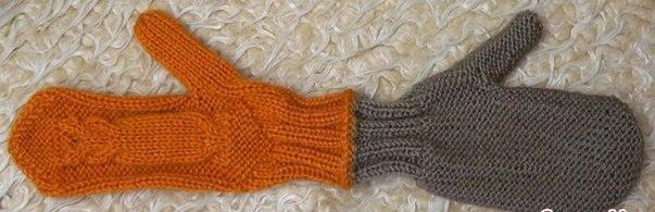 Двойные рукавички (Вязание спицами)