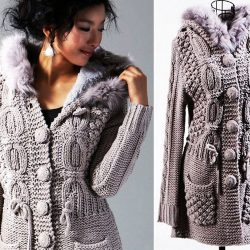 Пальто с интересными узорами (Вязание спицами)