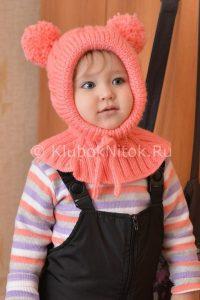 Шапочка-шлем с косами для малышки (Вязание спицами)