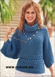 Пуловер-кимоно, связанный единым полотном (Вязание спицами)