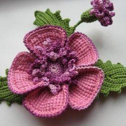 Брошь «Цветок» (Вязаные цветы)