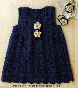 Простое детское платье со схемой (Вязание крючком)