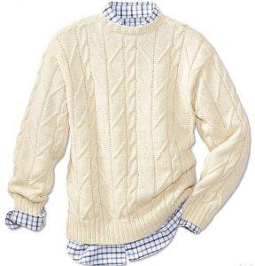 Мужской пуловер с красивым узором (Вязание спицами)