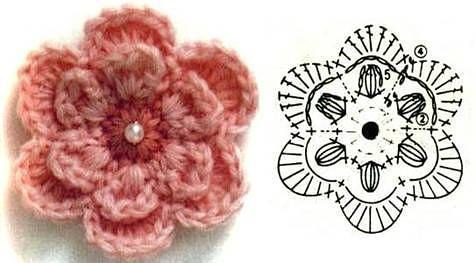 Вязаные цветки с и схемой 143