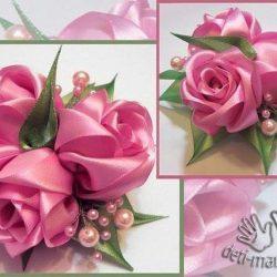 Роза из лент (Цветы из ткани)