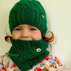 Вязаная шапочка и снуд для малышей (Вязание спицами)