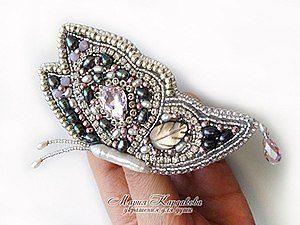 Вышитая брошь «Лунная бабочка» (Вышивка бисером)