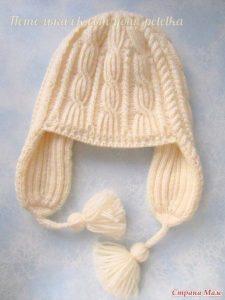 Шапка «Веселые косички» для девушки (Вязание спицами)