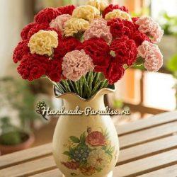 Гвоздики крючком (Вязаные цветы)