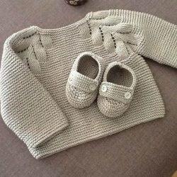 Кофточка с листиками для малыша (Вязание спицами)