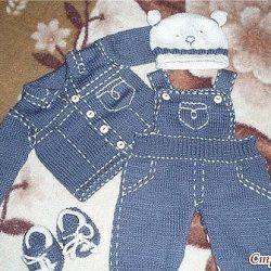 Вязаные «джинсы» для малыша (Вязание спицами)