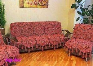 Вязаное покрывало на диван (Вязание крючком)