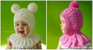 Шапка шлем для девочки (Вязание спицами)