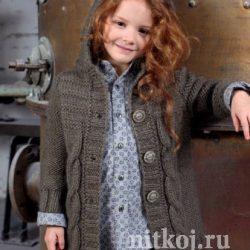 Пальто для девочки (Вязание спицами)