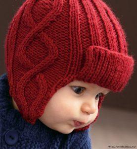 Шапочка с ушками для малыша (Вязание спицами)