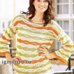 Пуловер узором «Волна» (Вязание крючком)