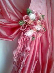 Букет роз из ткани для штор (Цветы из ткани)