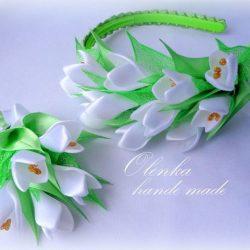 Подснежники из лент (Цветы из ткани)