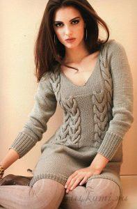 Красивое мини платье (Вязание спицами)