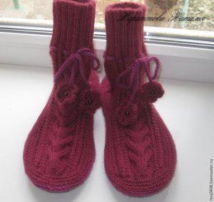Как связать уютные носки на войлочной подошве (Вязание спицами)