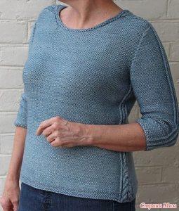 Пуловер с вставками по бокам и плечам (Вязание спицами)