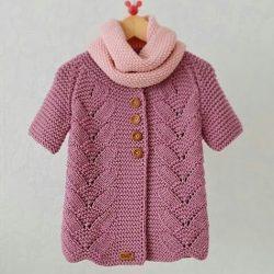 Оригинальный жакет для девочки, вязание сверху вниз (Вязание спицами)