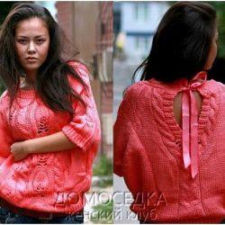 Пуловер с разрезом на спине спицами (Вязание спицами)