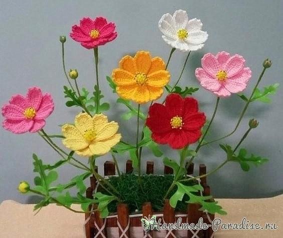 Вязаные цветки с и схемой 33
