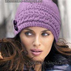 Женская вязаная шапка спицами. Описание и фото модели (Вязание спицами)