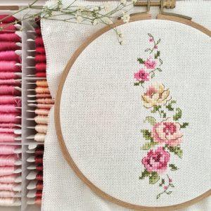 Изящный цветочный орнамент (Вышивка крестом)
