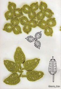 Листики крючком со схемами (Вязаные цветы)