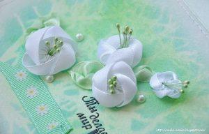 Цветочки из лент. Мастер-класс (Цветы из ткани)