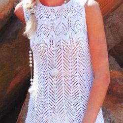 Вязаное платье без рукавов (Вязание спицами)