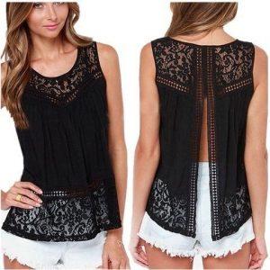 Блузка с кружевной открытой спинкой.Размеры выкройки 36-56(евро) (Шитье и крой)