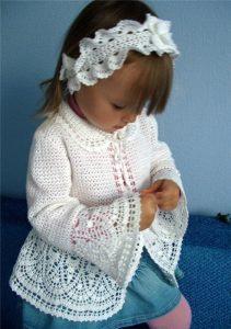 Белый жакет для девочки (Вязание крючком)