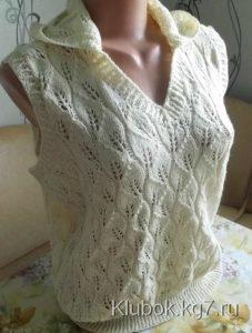 Жилет с капюшоном спицами для женщин схемы и описание (Вязание спицами)