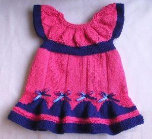 Яркое платье для новорожденной девочки спицами (Вязание спицами)