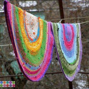 Вязаный коврик из футболок и остатков пряжи (Вязание для дома)