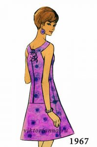 Ретро платье с фигурной спинкой и расклешенной юбкой (Шитье и крой)
