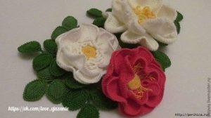 ШИПОВНИК ТУНИССКИМ ВЯЗАНИЕМ — МАСТЕР-КЛАСС (Вязаные цветы)