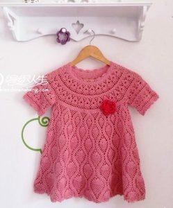 Детское платье на круглой кокетке крючком схема (Вязание крючком)