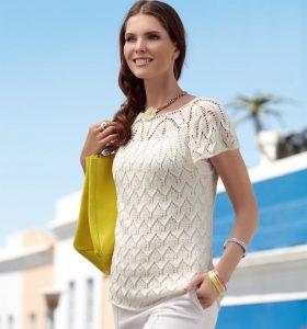 Белый пуловер с короткими рукавами (Вязание спицами)