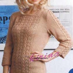 Стильный женский ажурный пуловер (Вязание спицами)