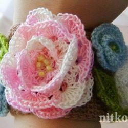 Браслет крючком из цветов (Вязание крючком)