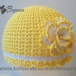Летняя шапочка крючком для девочки (Вязание крючком)