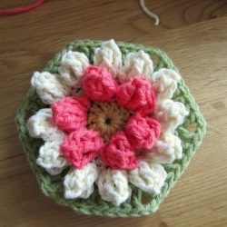 Мотив шестиугольник, цветок с лепестками попкорн (УЗОРЫ КРЮЧКОМ)