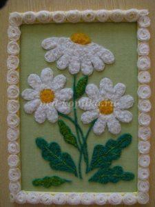 Аппликация из шерстяных ниток «Ромашки» (Вязаные цветы)