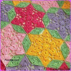Радужный плед из мотивов Летний сад (Вязание крючком)