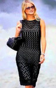 Черное платье без рукавов (Вязание спицами)